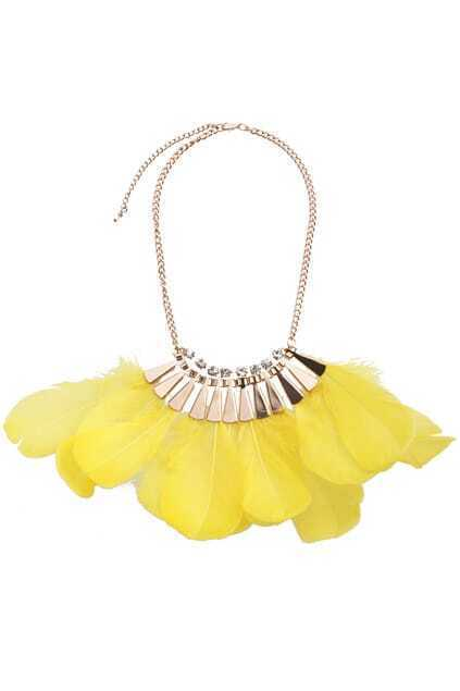 Chain Yellow Feather Necklace