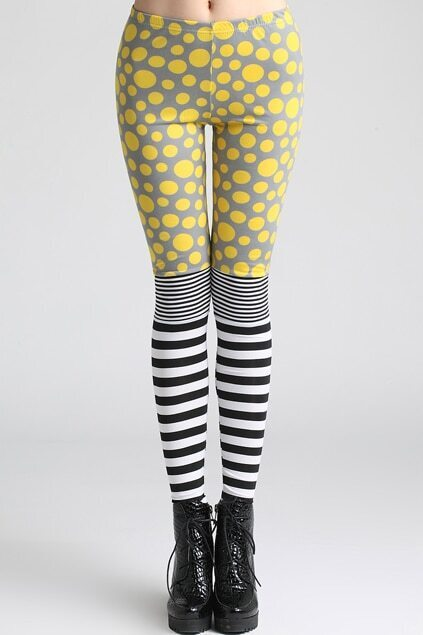 Spliced Polka Dots Striped Yellow Leggings