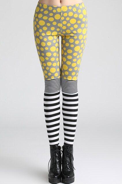Spliced Polka Dots Striped Yellow Leggings