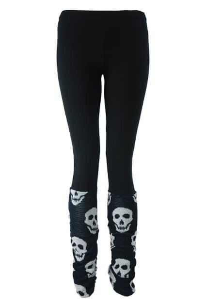 Skull Print Leg Warmer Black Leggings