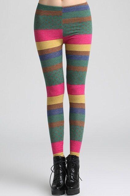 Rainbow Wide Stripes Leggings