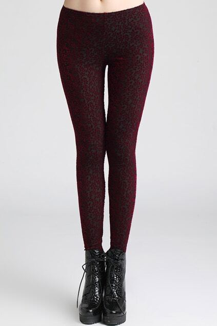 Flowers Print Dazzle Color Claret-red Leggings