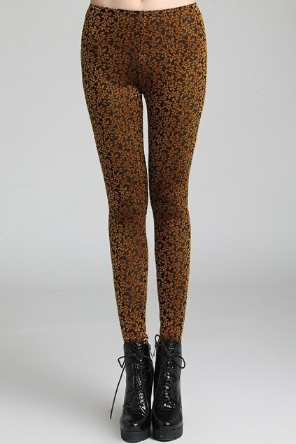 Flowers Print Dazzle Color Golden Leggings