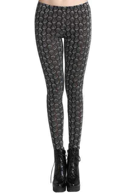 ROMWE Multi Skulls Print Sheer Sliver-tone Leggings