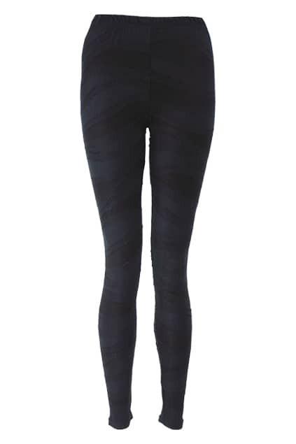 Spliced Geometric Fur Edges Black Leggings