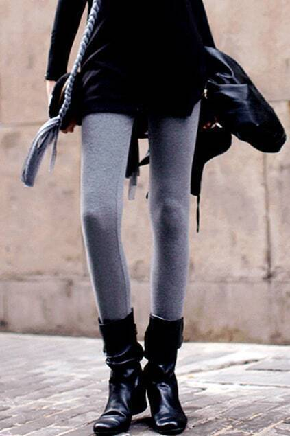 Thickening Threaded Tight Grey Leggings