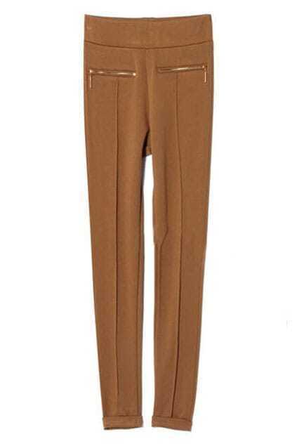 Multi Zipper Embellished Slim Coffee Leggings