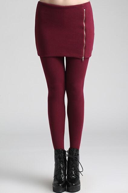 Zippered Claret-red Skirt Leggings