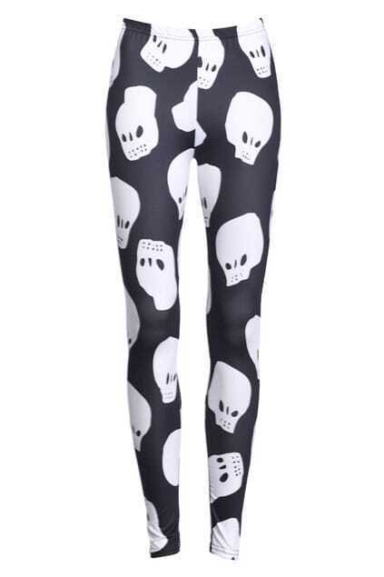 Skull Print Black Leggings