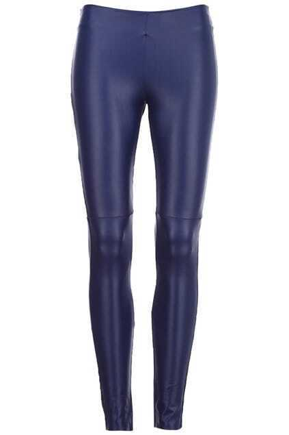 Brief Zippered Blue Leggings