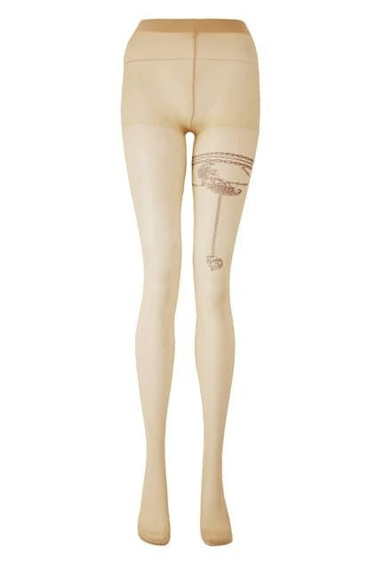 Fake Heart Tatoos Skin Color Tights