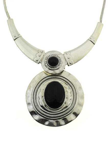 Black Diamond Round Pendant Necklace