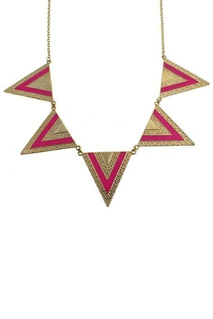 Neon Color V-shape Triangles Pendant  Necklace