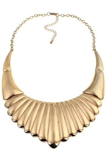Golden Striated Collar Necklace