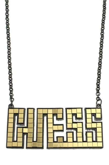 Yellow Oversized Guess Pendent Necklace