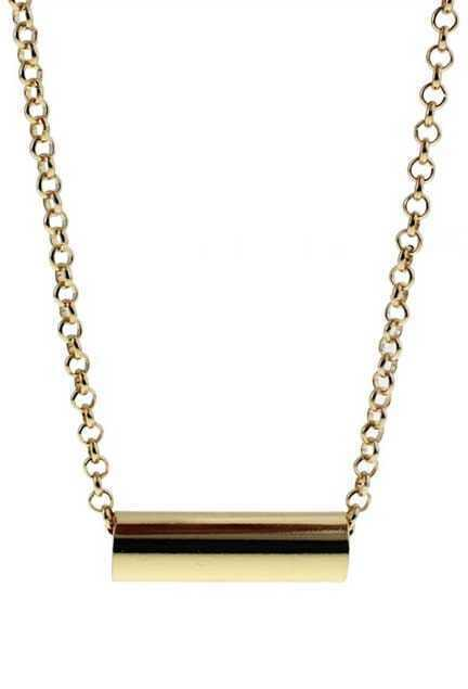 Oversized Cylinder Metal Pendant Necklace