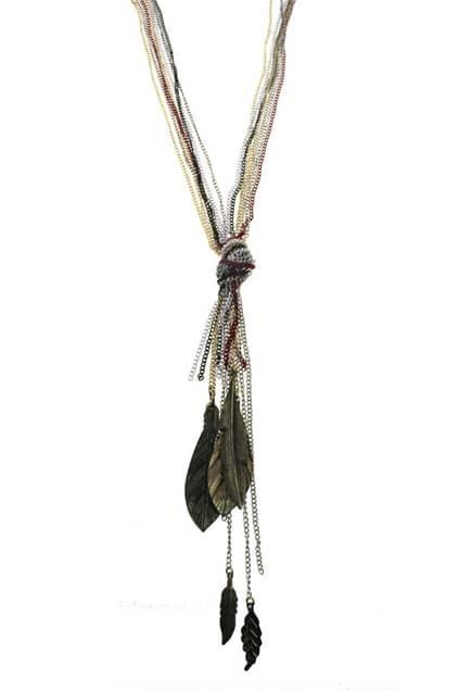 Leaves Shape Curb Chain Pendant Necklace