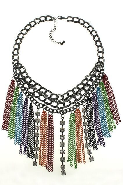 Colorful Tassel Pendant Necklace