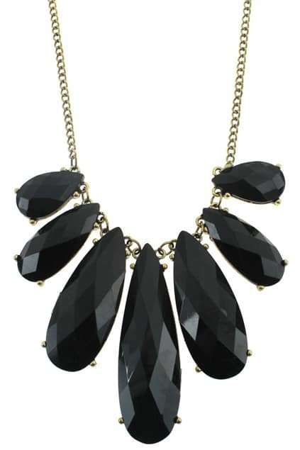 Black Jewel Collar Pendant Necklace