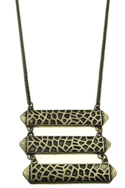 Ladder Type Engraved Pendant Necklace