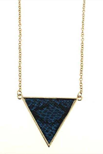 Oversized Enameled Triangle Pendant Necklace