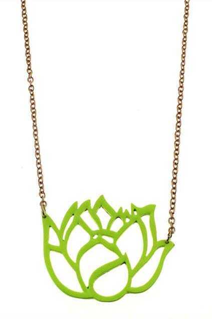 Lotus Frame Metal Pendant Necklace