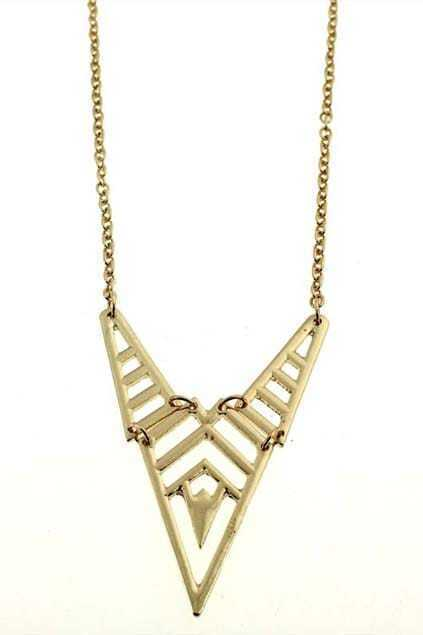 Net-shaped Triangle Metal Pendant Necklace