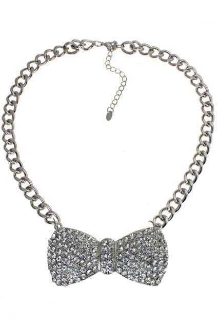 Diamante Bowknot Pendant Necklace