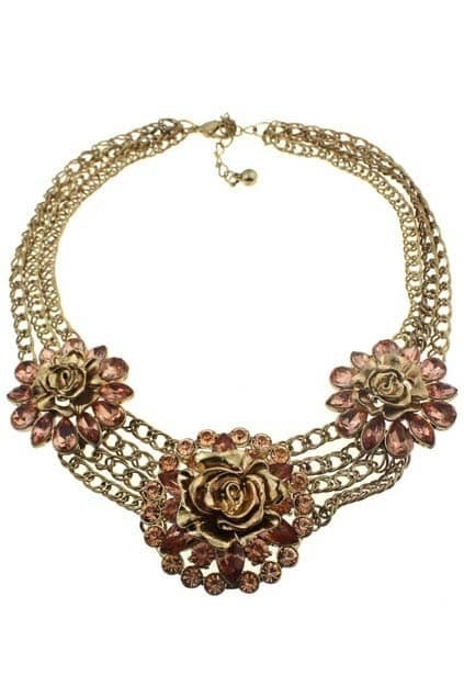Flower-shaped Jewel Multi Chains Necklace