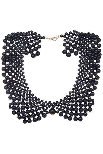 Net-shaped Faux Pearl Collar Necklace