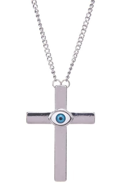 Oversized Eye Cross Charm Pendant Necklace