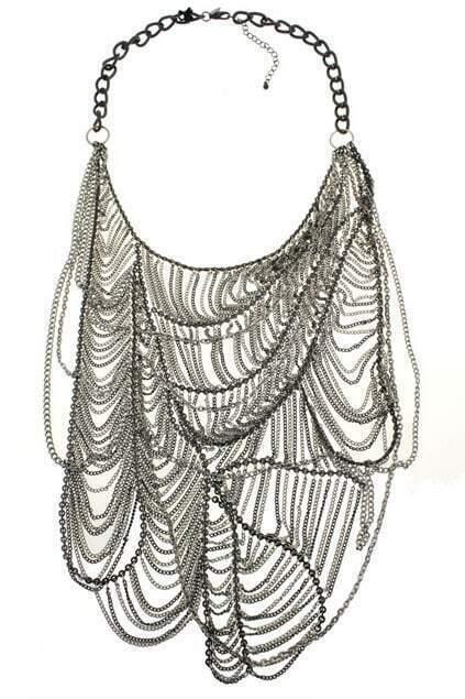 Oversized Net-shaped Tassel Pendant Necklace