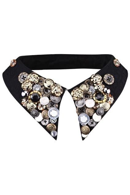 Multi Button Black Pointed Collar