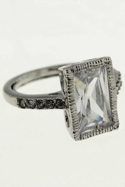 Oversized Diamond Silver Edge Ring