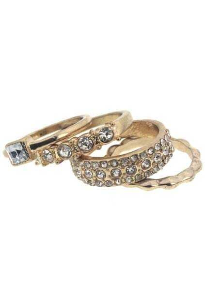 Mismatch Golden Metal Diamante Rings