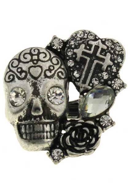 Skull Heart-shaped Elastic Ring