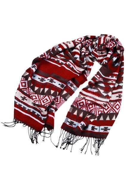 Rectangle Geometric-pattern Dark-red Scarf