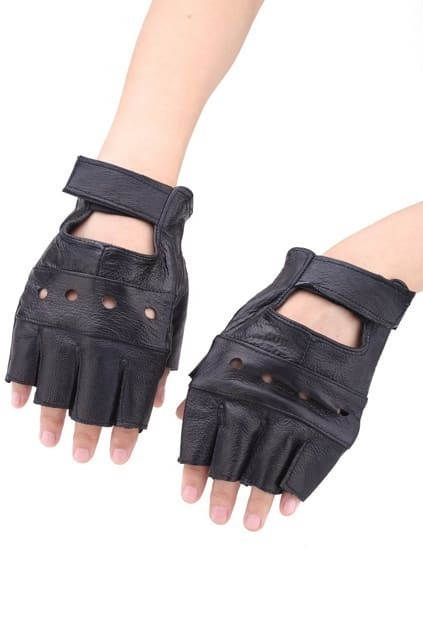 Leather-look Punk Gloves