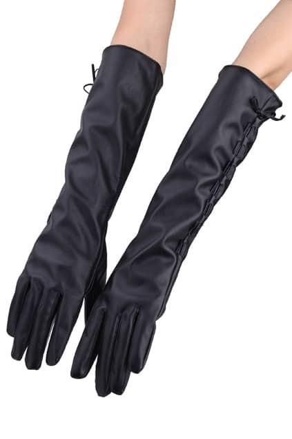 Black Lace Up Longline Gloves