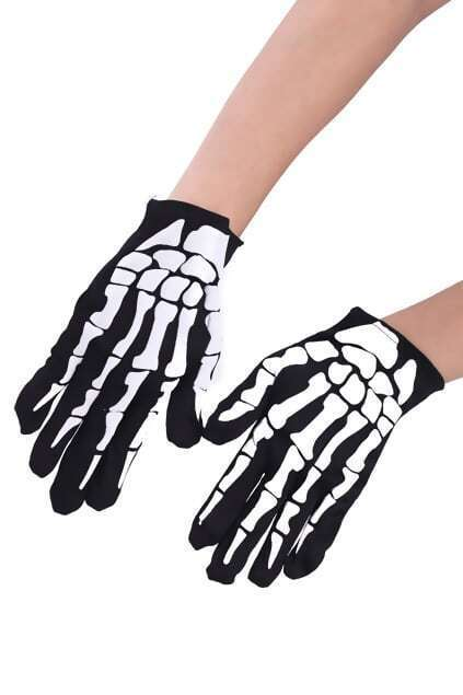 Bone Print Black Gloves