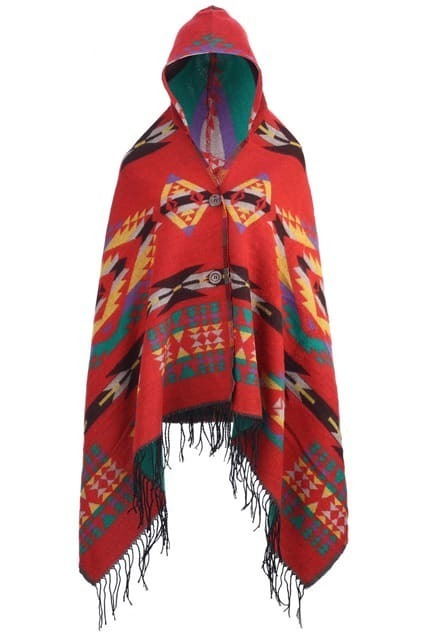 Asymmetric National Styling Hoodie Red Scarf