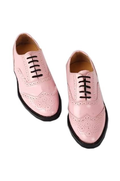 Retro Style Pink Brogue Shoes