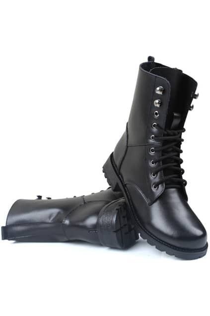 Lace Up Low-heel Black Martin Boots