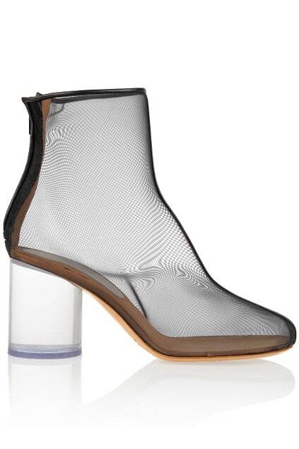 Splice Gauze Transparent Heel Black Boots