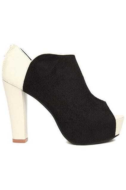 High Heels Peep Toes Black-white Shoes