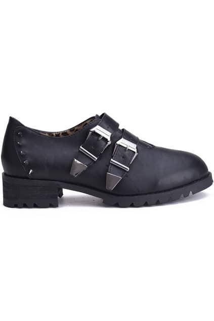 Rivets Detailed Leather Buckle Heeled Shoes