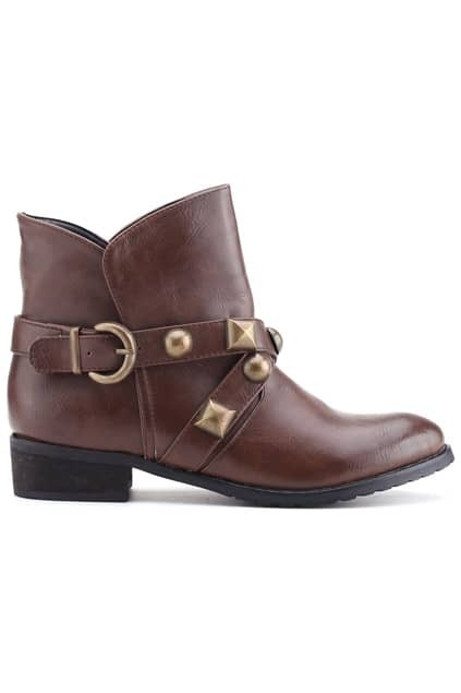 Pin Buckle Brown Ankle Boots