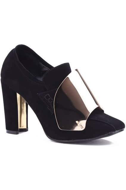 Metal Chunky High Heel Black Shoes