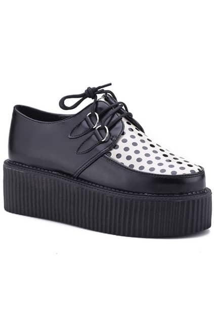 Dots Print Black Platform Shoes