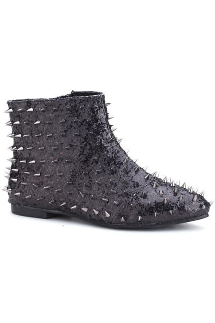 Paillette Rivet Black Ankle Boots